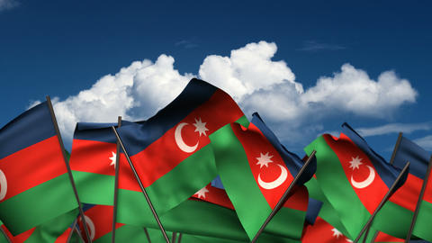 Waving Azerbaijani Flags Animation