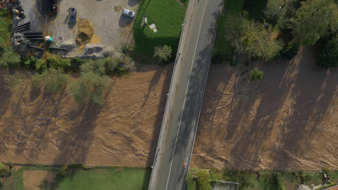 AERIAL: Muddy and strong river after rainfall Footage