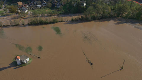 AERIAL: River flooded the country after heavy rain Footage