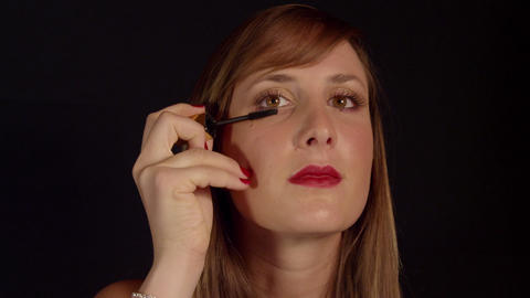 SLOW MOTION: Woman Applying Mascara stock footage
