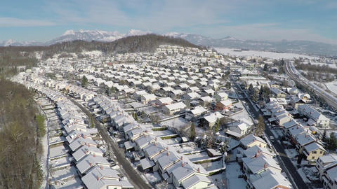 AERIAL: Snowy suburbs in winter Footage