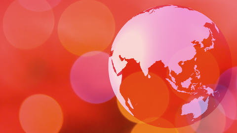 World globe rotating red background Animation