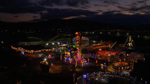 AERIAL: Shinning Luna park at sunset Footage