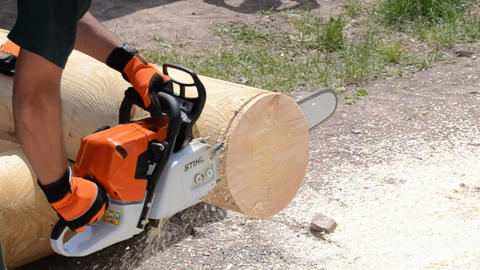 chainsaw blade cutting log of wood Footage
