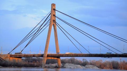 Moscow bridge across Dnieper Kiev Ukraine Footage