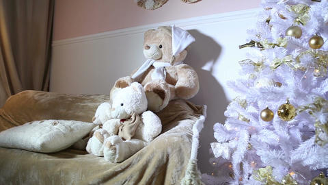 Christmas Tree, Sofa, Soft Toys In The Room stock footage