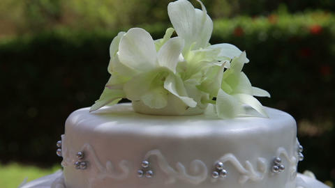 wedding cake decorated with orchid and bead Footage