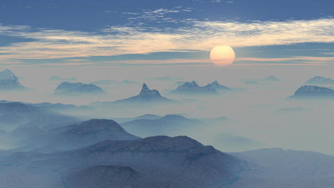 Sunset in the misty mountains Animation
