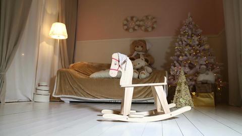 Children Rocking Horse Swinging, Christmas Tree, S stock footage