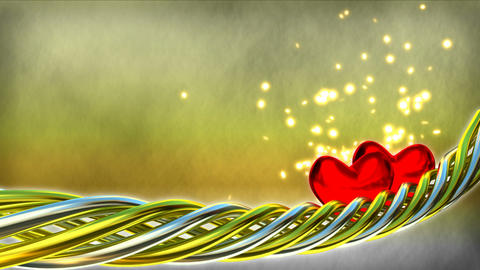 Motion background with red hearts and glitter part Animation