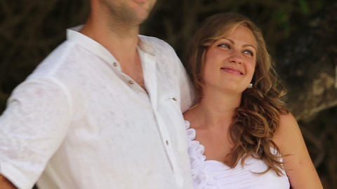 bride listen to groom embracing him Footage