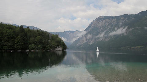 Bohinj Lake and Julian Alps - water reflection Footage