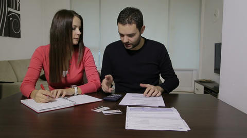 Couple with financial problem Stock Video Footage