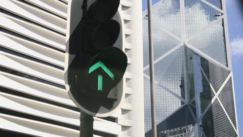 View of New Bank of China from car at Hong Kong, China Live Action