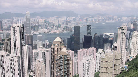 City view with modern skyscrapers and harbour in Hong Kong Footage