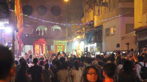 Spectators watching Tai Hang Fire Dragon Dance at Tai Hang, Hong Kong, China Footage