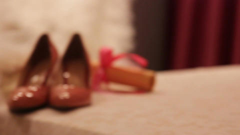 a wedding dress and bride shoes Footage