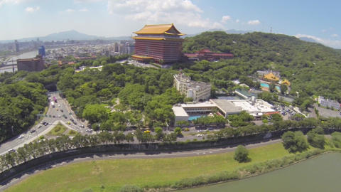 drone aerial over Taipei Grand Hotel - sunny day Footage
