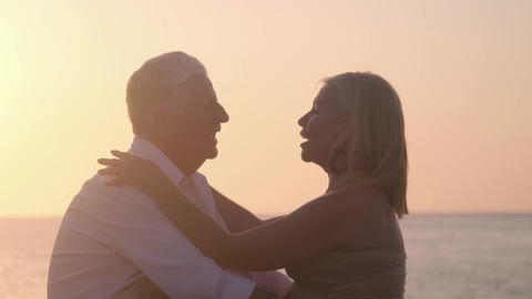 Elderly Couple In Love With Romance With Old Man A stock footage