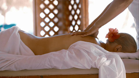 Woman getting body massage at beauty spa Footage