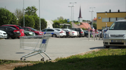 Timelapse traffic parking zone empty shopping cart Footage