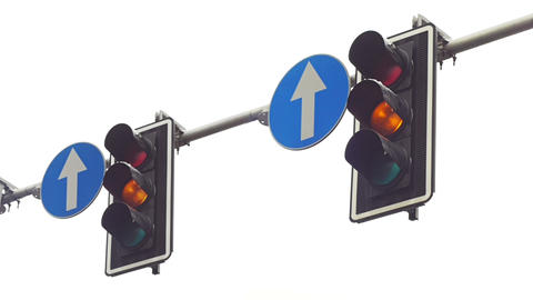 Traffic lights above the street Footage