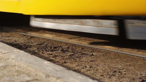Modern tram rides on rails Footage