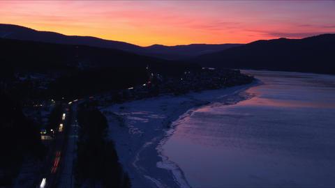 Winter River Yenisei Sunset Timelapse Footage
