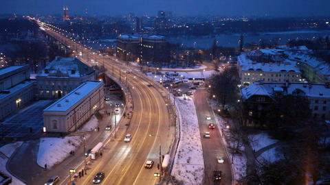 Movement Of Cars On The Night Street In Warsaw In  stock footage