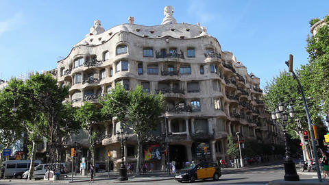 La Pedrera Casa Mila, Gaudi Building In Barcelona stock footage