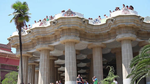 Park Guell architecture, Barcelona Footage