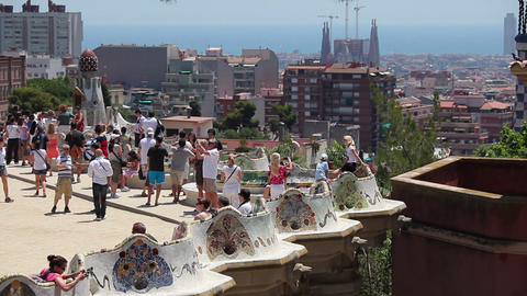 Terrace in Park Guell Barcelona Spain Footage