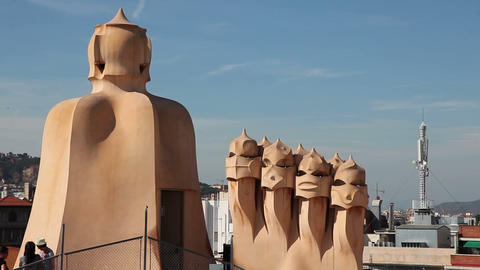 Casa Mila surrealistic roof, Barcelona Footage