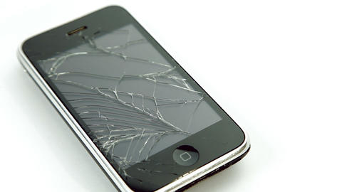 Broken Screen Glass Lcd Mobile Smart Phone On Whit stock footage