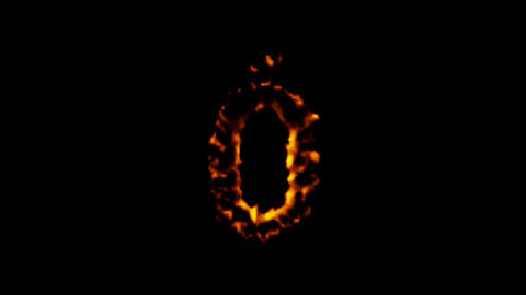 numbers 0 burning with flames on black background Stock Video Footage