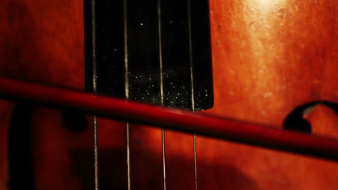 Double Bass 05 bow extreme closeup change focus Stock Video Footage
