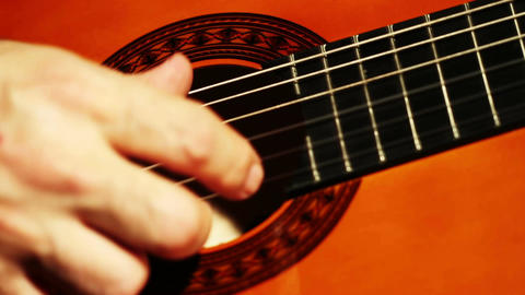Musician and Acoustic Guitar 04 playing closeup Footage