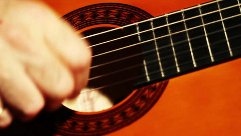 Musician and Acoustic Guitar 04 playing closeup Stock Video Footage