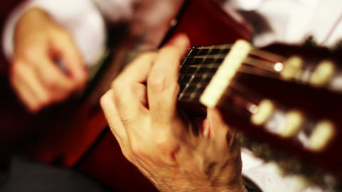 Musician and Acoustic Guitar 06 playing Stock Video Footage