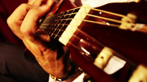 Musician and Acoustic Guitar 10 playing wide angle Stock Video Footage