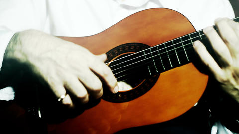 Musician and Acoustic Guitar 12 playing stylized artcolored Footage