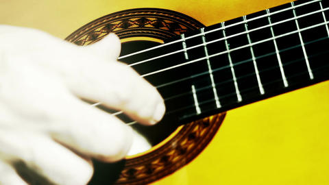Musician and Acoustic Guitar 14 playing closeup stylized artcolored Footage