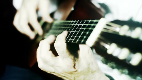 Musician and Acoustic Guitar 16 playing wide angle... Stock Video Footage