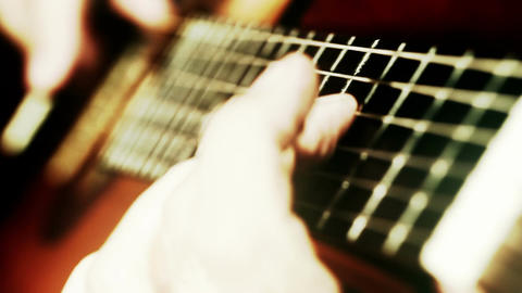 Musician and Acoustic Guitar 18 playing wide angle... Stock Video Footage
