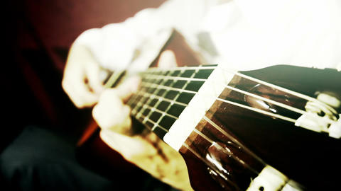 Musician and Acoustic Guitar 20 playing wide angle... Stock Video Footage
