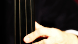 Musician and Double Bass 07 fingerboard extreme closeup Stock Video Footage