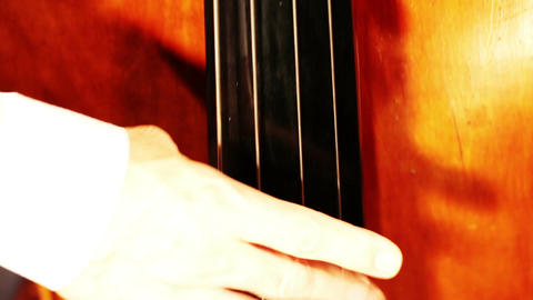 Musician and Double Bass 11 playing jazz closeup Footage