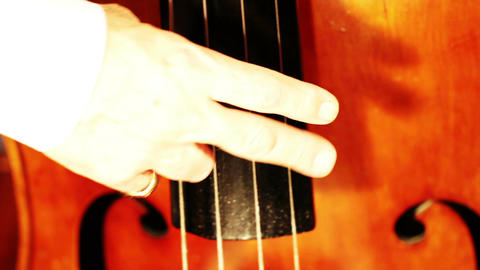 Musician and Double Bass 11 playing jazz closeup Stock Video Footage