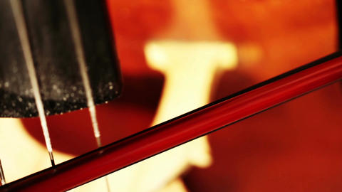 Musician and Double Bass 13 strings and bow extreme closeup Stock Video Footage