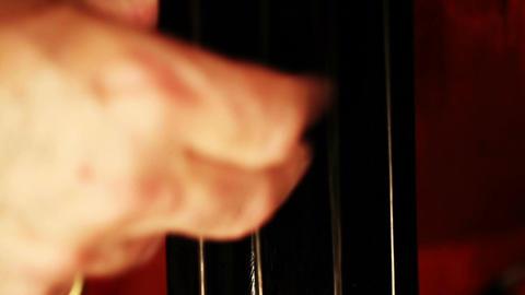 Musician and Double Bass 15 closeup tilt Stock Video Footage